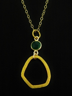 Gold Organic Emerald Necklace