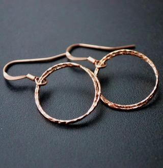 Rose Gold Diamond Cut Circle Earrings
