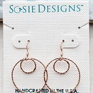 Rose Gold Double Circle Diamond Cut Earrings