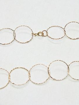 "24"" Rose Gold Diamond Cut Circle Necklace"