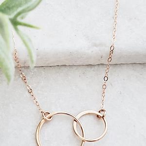 Rose Gold Two Intertwined Circle Necklace