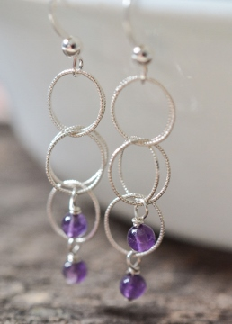 Spheres Earrings - Amethyst