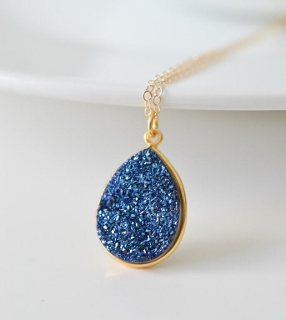 Gold Druzy Pear Necklace - Blue