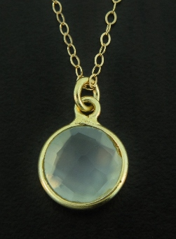 Gold Aqua Chalcedony Necklace