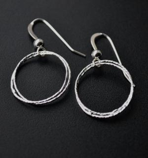 Circle Diamond Cut Earrings