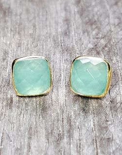 Vermeil Gold Cushion Aqua Chalcedony Studs Earrings