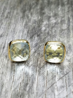 Vermeil Gold Cushion Topaz Studs Earrings
