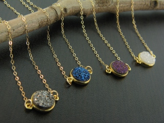 Gold Bezel Druzy Necklace - Grey