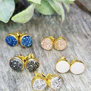 Gold Druzy Quartz Studs Earrings 8mm - Black/Dark Grey