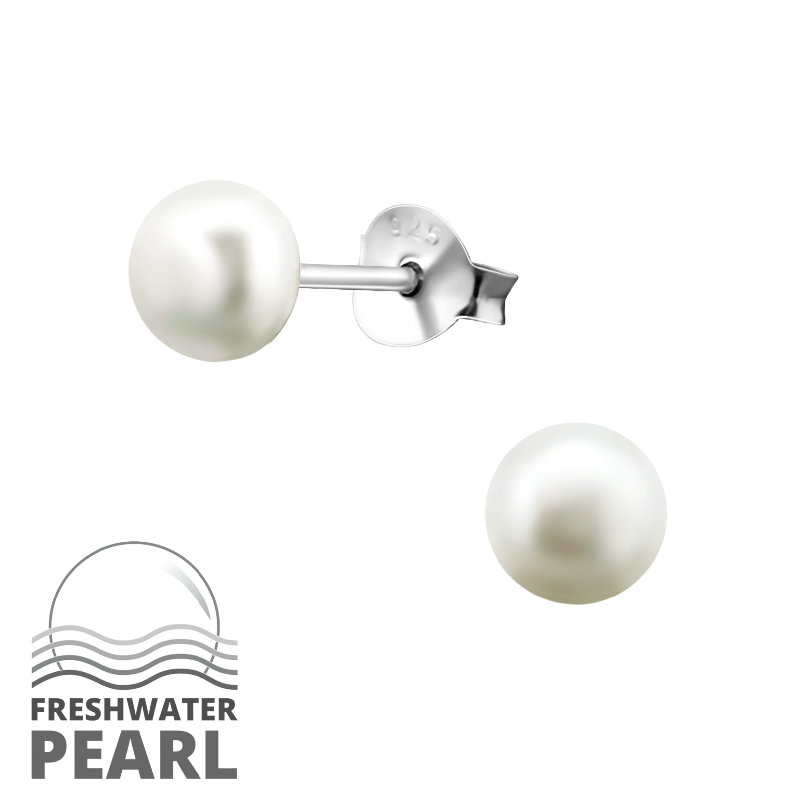 Silver Freshwater White Pearl Stud