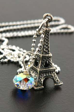 Eiffel Tower Necklace w/ crystal