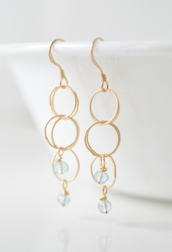 Gold Spheres Earrings - Aqua
