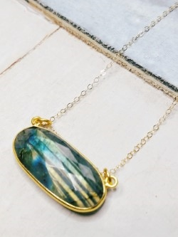 Floating Labradorite Gold Necklace