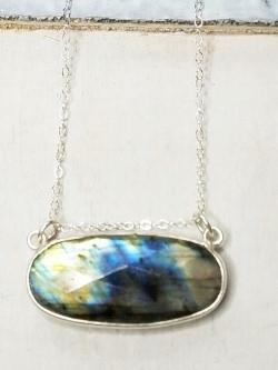 Floating Labradorite Silver Necklace