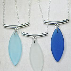Silver Floating Curve Eco Sea Glass Necklace - Turquoise