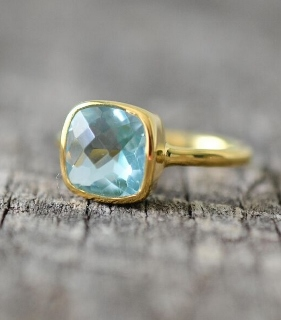 Blue Topaz Hydro Cushion Ring