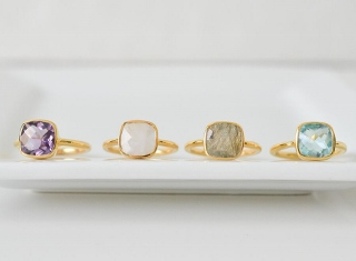 Rainbow Moonstone Cushion Ring