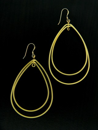 Gold Double Teardrop Earrings