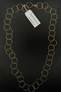"24"" Gold Diamond Cut Circle Necklace"