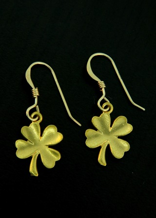 Gold Lucky Clover Earrings