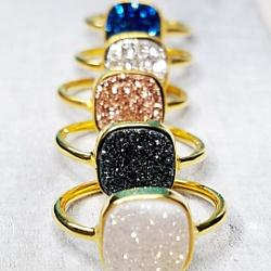 Gold Druzy Cushion Ring - Rainbow White