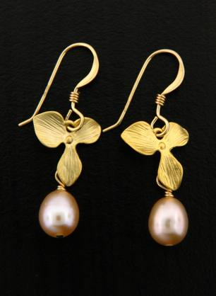 Gold Pink Pearl Orchid Earrings