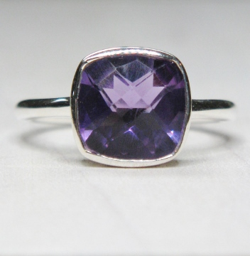 Amethyst Cushion Ring in Sterling Silver