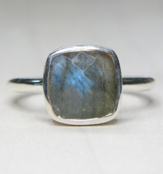 Labradorite Cushion Ring in Sterling Silver