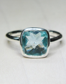 Blue Topaz Hydro Cushion Ring in Sterling Silver