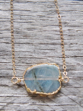 Gold Rutilated Quartz Slice Necklace