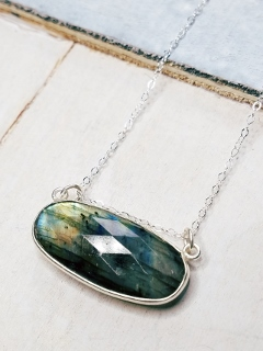 Floating Labradorite Silver Necklace