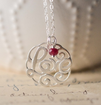 LOVE Script Necklace w/ Ruby