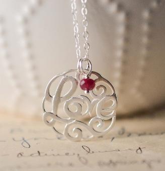 LOVE Script Necklace w/ Ruby