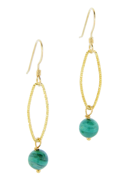 Gold Malachite Diamond Cut Earrings