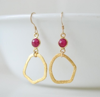 Gold Organic Ruby Earrings