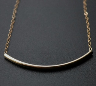 Gold-filled Curved Bar Necklace