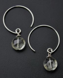 Curled Hoop Green Amethyst Earrings