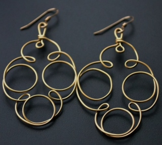 Gold Spiral Coil Earrings