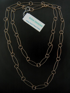 "36"" Rose Gold Diamond Cut Combo Necklace"