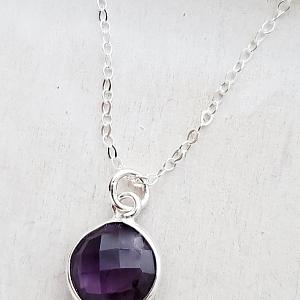 Silver Round Amethyst Necklace