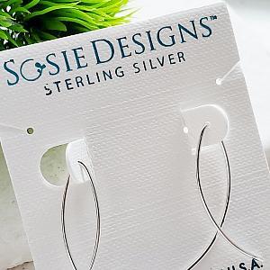 Silver Infinity Wishbone Threader Hoop Earrings - Small