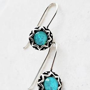 Silver Opal Dangle Earrings - Medium Azure Blue