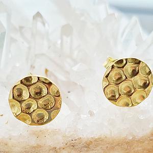 Gold Hammered Circle Pad Studs
