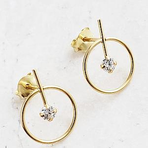 Gold Circle with Bar CZ Studs- Clear