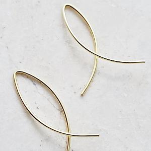 Gold Infinity Wishbone Threader Hoop Earrings - Small