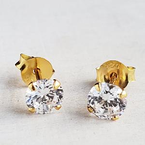 Gold CZ Round Studs Earrings - Clear