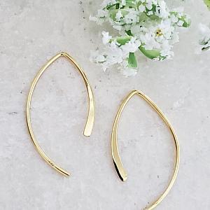 Gold Open Wishbone Earrings