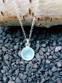 Silver Aqua Chalcedony Necklace