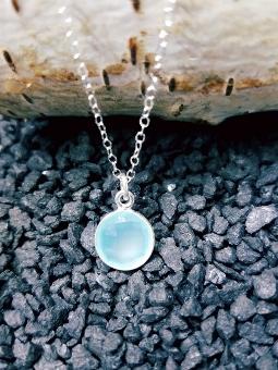 Silver Round Aqua Chalcedony Necklace
