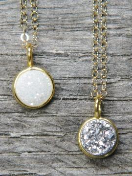 Tiny Gold Bezel Druzy Necklace - Gold over Silver